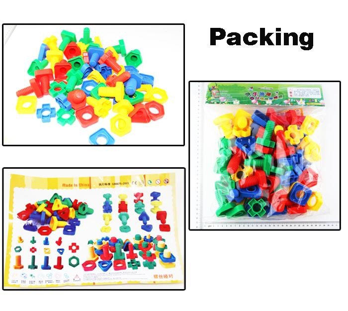 Plastic Educational Screw Building Block Toy Plastic Construction Scew Blocks