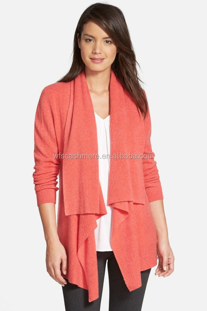 scarf collar winter pure cashmere knit cardigan for women
