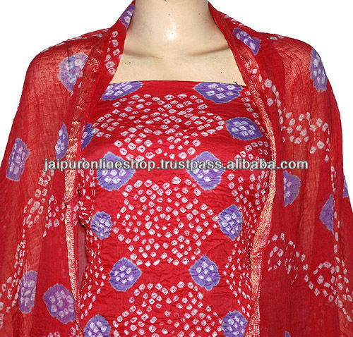 Bandhani Tie & Dye Traditional Festival Wear Glace Cotton Designer Unstitched Womens Salwar Suit Any Size