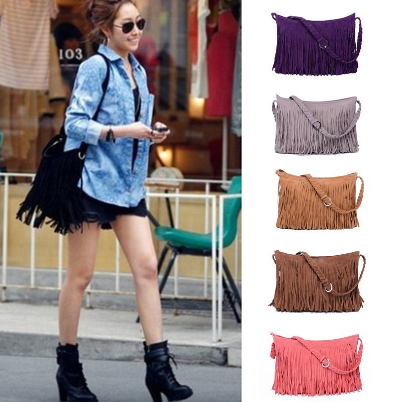 New Fashion Fringe Tassel cross body bag Women's Handbags Messenger Bag Lady Cross Body Shoulder Bag