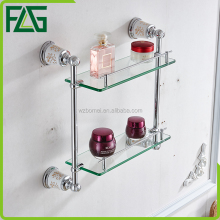 Sanitary ware cheap wholesale bathroom two tier glass shelf
