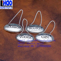 bulk silver custom cheap metal bottle liquor decanter label tag hangtag