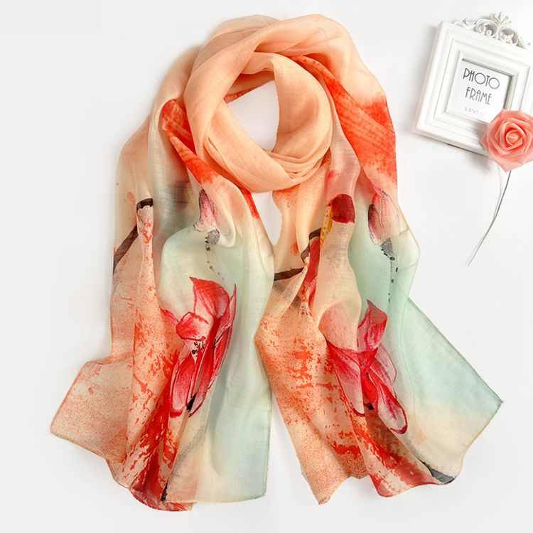 Fashion 2017 trend lightweight women long floral silk and wool blend scarf shawl