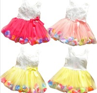 Rose Petals Tulle Ball Gown Puffy Kids Party Wear Dresses For Girls