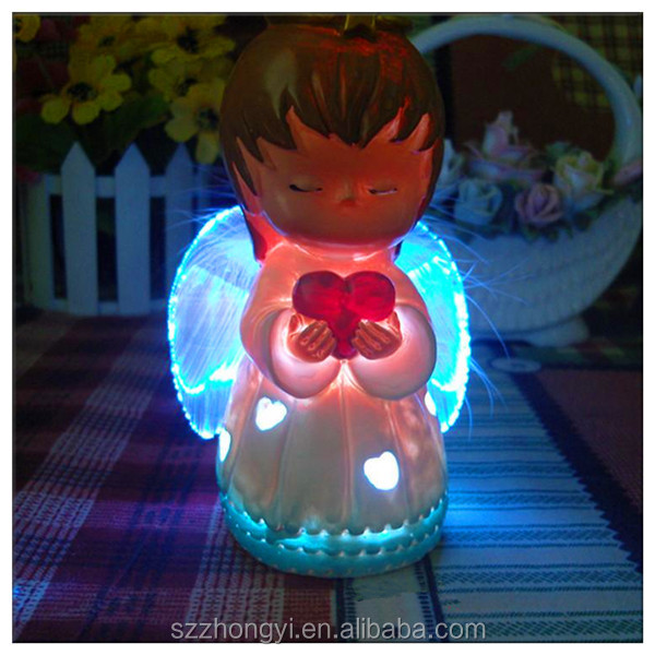 2014 China Supplier hot new products equipped with LED angels figurines,wholesale acrylic angels figurines