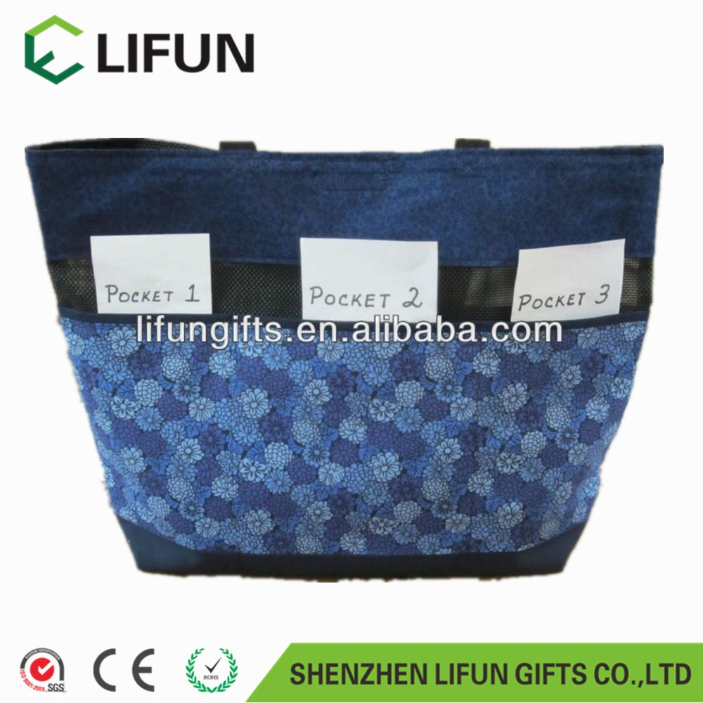 2017 Small easy carry blue tote bag with flowers printing