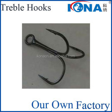 the thin treble fishing hooks with barbless point