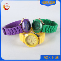 Hot fashion geneva silicone quartz wrist Sports watch/Colorful Number Face Geneva Watch For Women