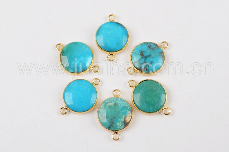 ZG170 natural stone jewelry 15mm round turquoise pendant