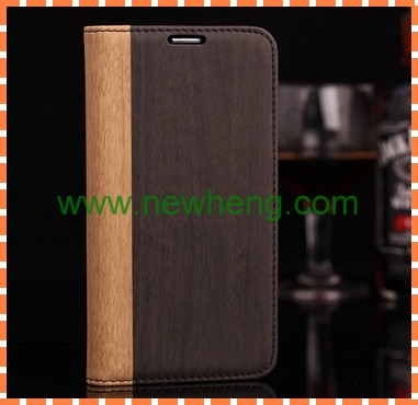 Flip Stand Wallet Wood Grain Leather Cases For Samsung Galaxy S5