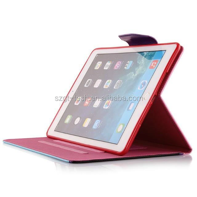 For iPad air 2 high quality waterproof ultra slim genuine PU leather TPU case