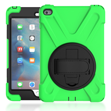 Rotating Kickstand Cover Wrist Band Shockproof Case For iPad Mini 4