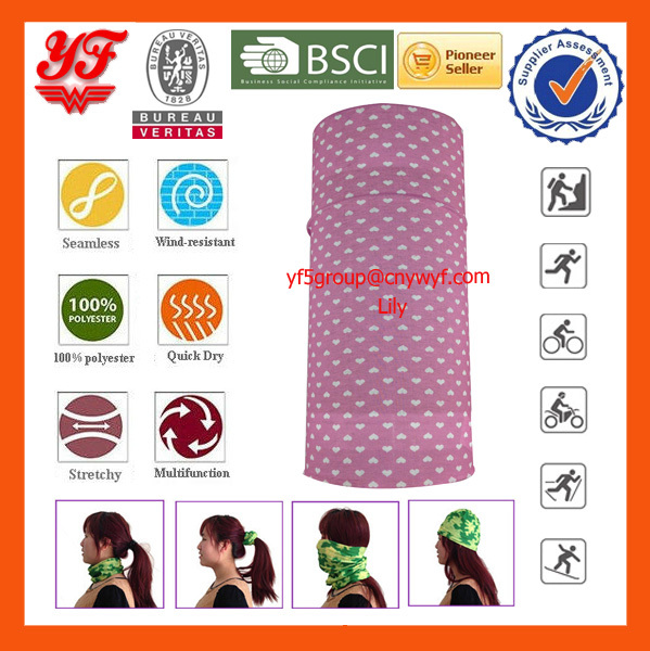 Cute Pink Love Balm Custom Multifunctional Tube Bandana/Tube Scarf for Women