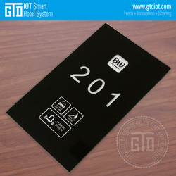 Black tempered Glass 433 wireless touch Doorplate system, with customize logo printed