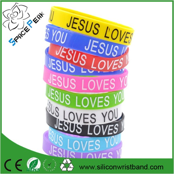 Debossed Religious Love Believe Dream Hope Faith Inspire wristband silicone bracelets