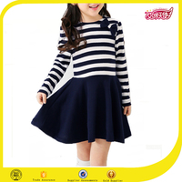 New fashion dress baby cotton frocks designs strip frock design for baby girl children frocks designs 2016 plus size dress