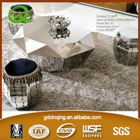 C146 high glossy round stainless steel coffee table