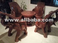 Hand Carved Teak Elephant Table & Four Chairs