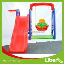Indoor Plastic Kids Slides with Swing and Basketball Set LE.HT.009