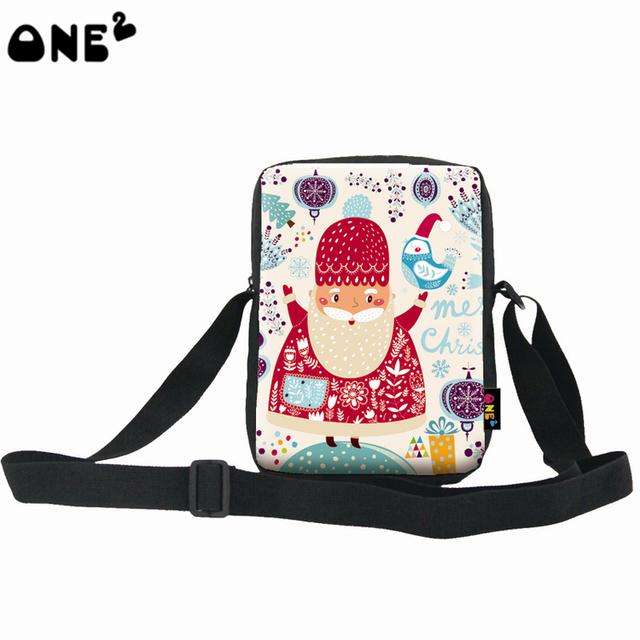 ONE2 Design Christmas happy Claus shoulder kids backpack school bag messenger polyester bag