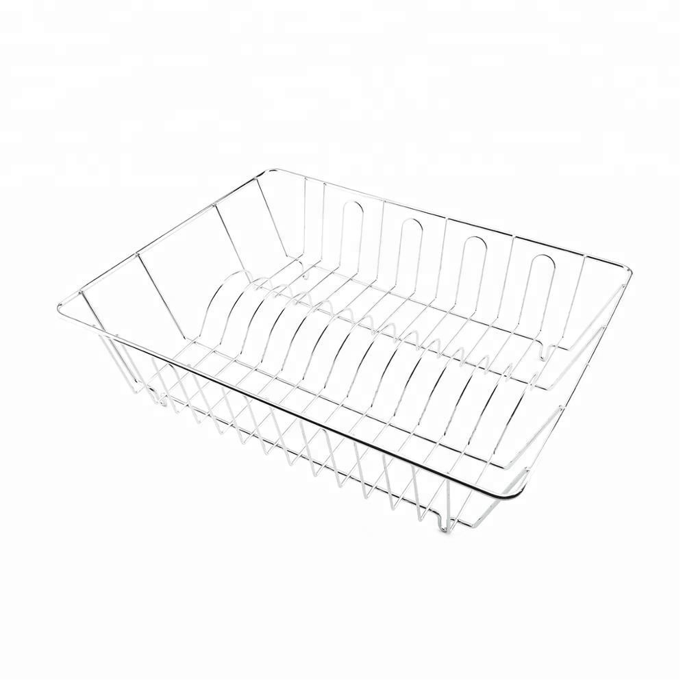 Meta Wire Dish Rack Drainer for Kitchen Counter Plated Chrome Dish Dryer