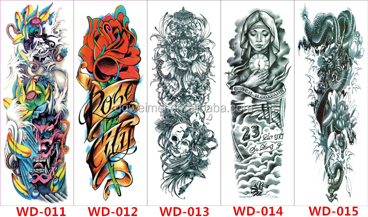 Extra Large Temporary Tattoo , Full Arm Sleeve Skull Dragon Fish Flash Tattoo , Easy to Apply and Long Lasting for Women Men