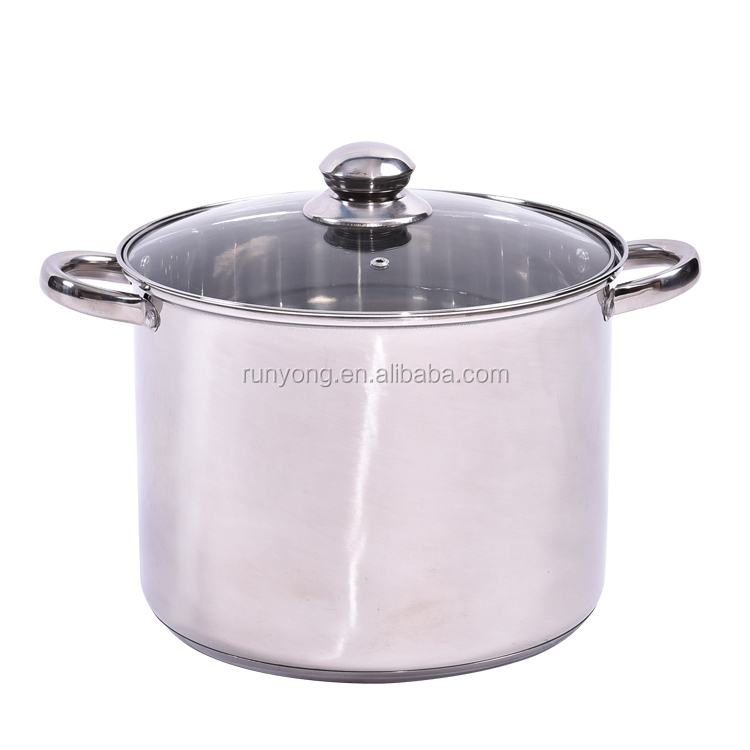 Large Capacity Double Ears Stainless Steel Kitchen Deep Stock Pot with Glass Cover