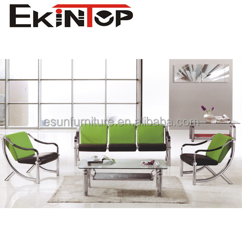 Modern Euro design leather setional office sofa with stainless steel legs and armrest