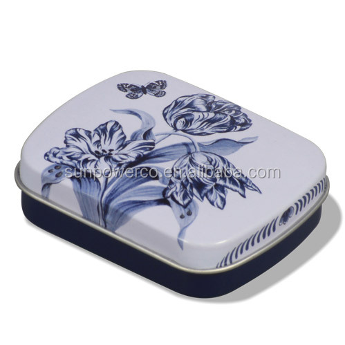 Rectangle custom printed metal tin box / candy tin box / mint tin with keychain