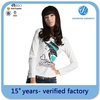 nice printing tight fit long sleeve t shirt