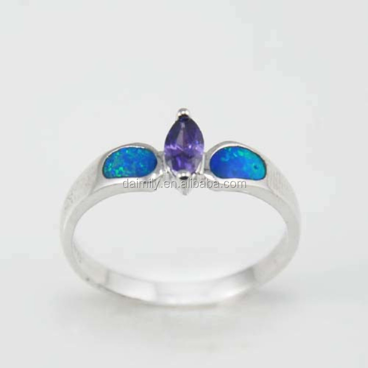 925 STERLING SILVER WHITE GOLD PLATED OPAL RINGS FACTORY WHOLESALE