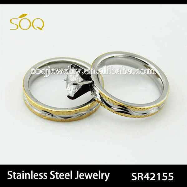 Classical Stainless steel silver & gold couple wedding ring