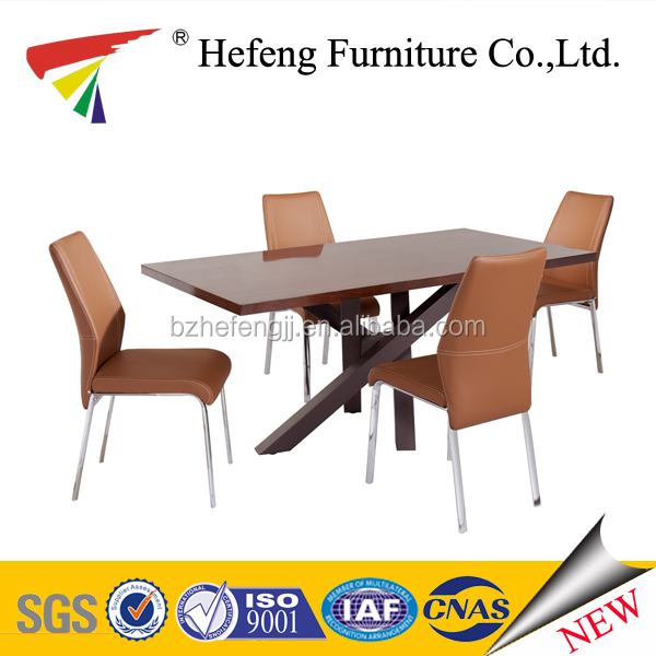Wooden top dining table with leather chair
