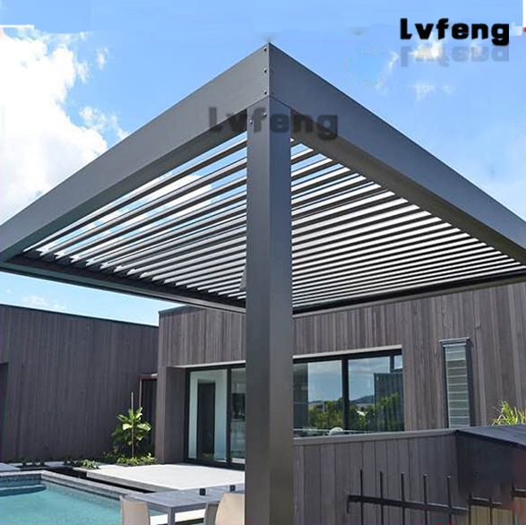 Outdoor Aluminum Folding Motorised Sun Louvre Roof Waterproof Pergola
