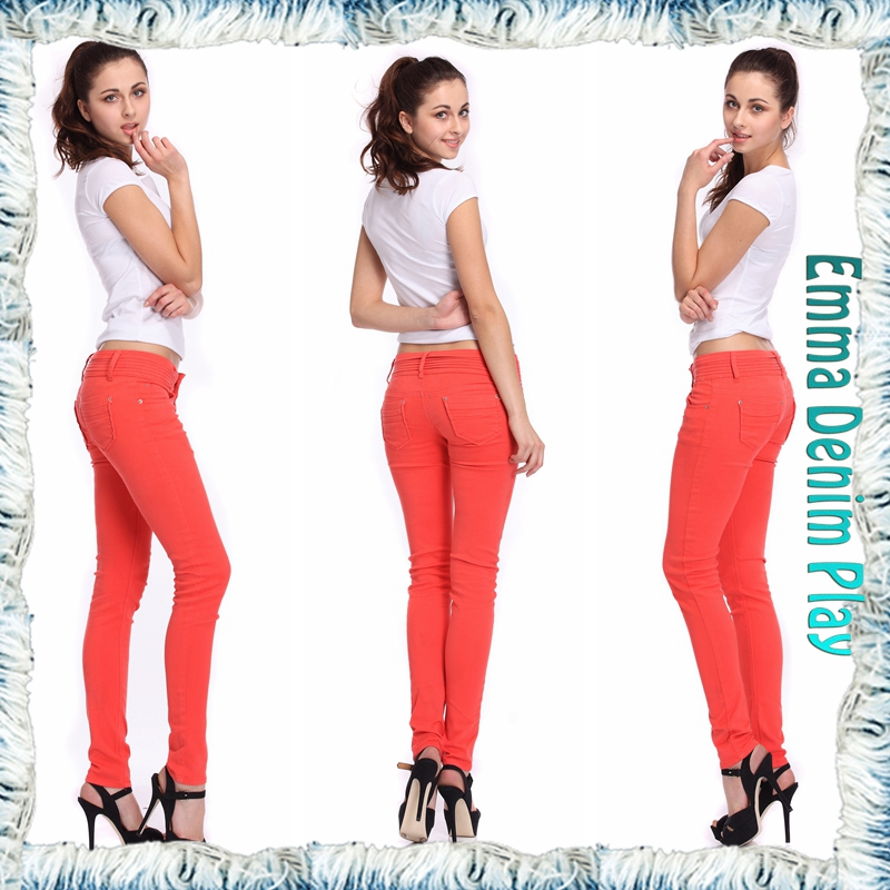 Latest Design Soild Red Thick Fabric Multi Fold Hem Waist Low Skinny Jeans Ladies