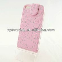 Diamond leaf leather case for iphone 5C