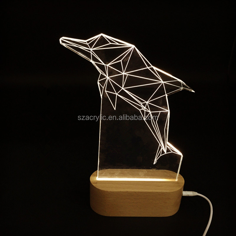 New Products 3D LED Animal Night Light Acrylic Wooden Base USB Port Table Lamp