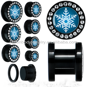 Black plated 316L stainless steel with clear crystals and white snow flake shape ear plug, body piercing jewelry