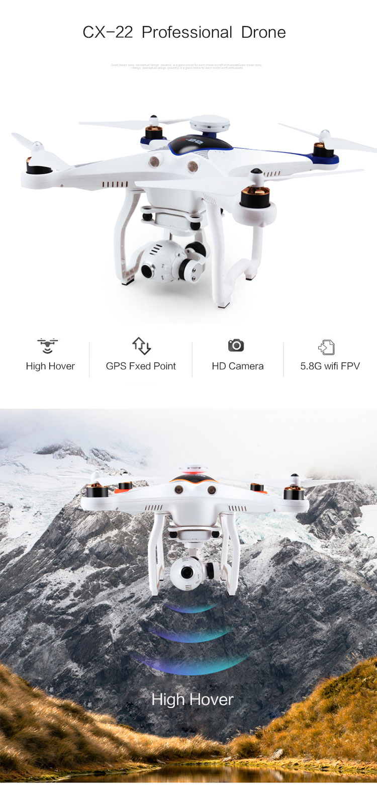 Cheerson CX-22 RC Drones 4k 6-axis 5.8G FPV remote control Quadcopter Cheerson drone agriculture sprayer