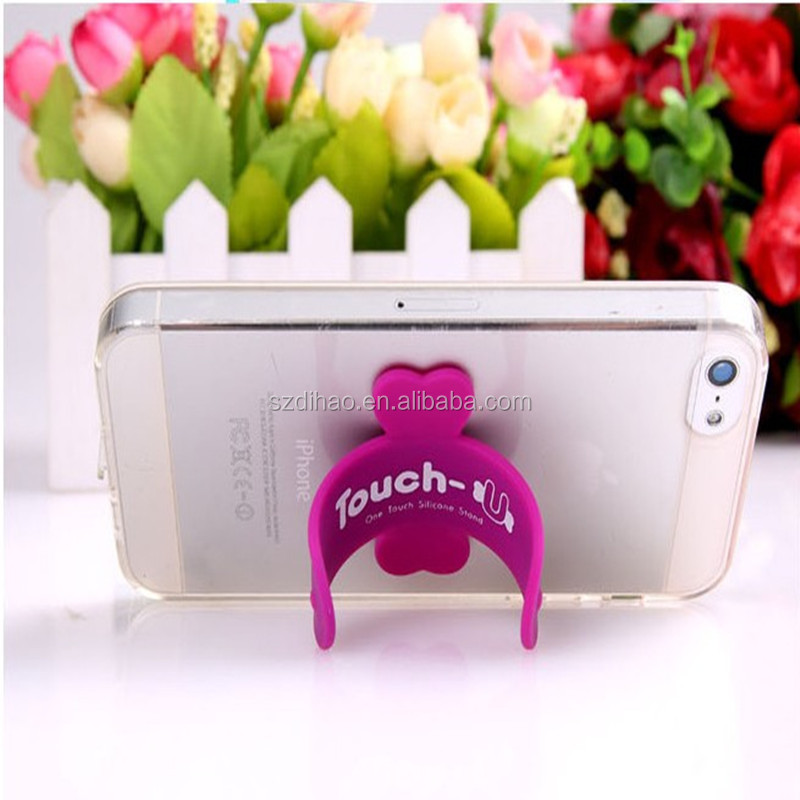 DIHAO Cheap silicone touch <strong>u</strong> stick single color hand cell phone holder