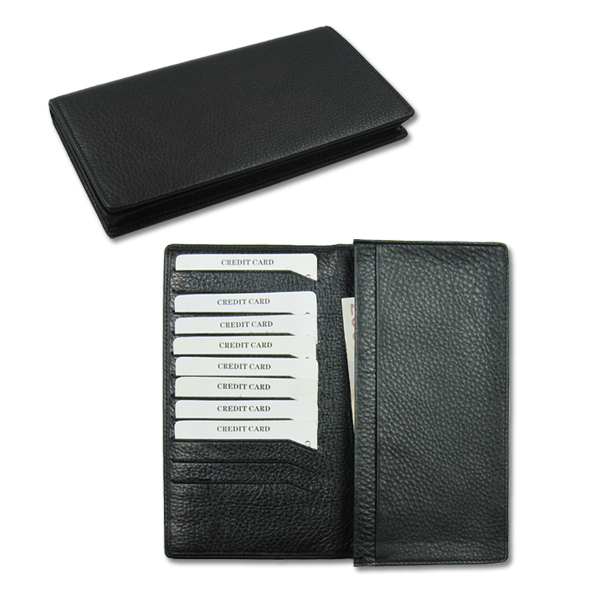 Custom gift long passport organizer leather travel wallet
