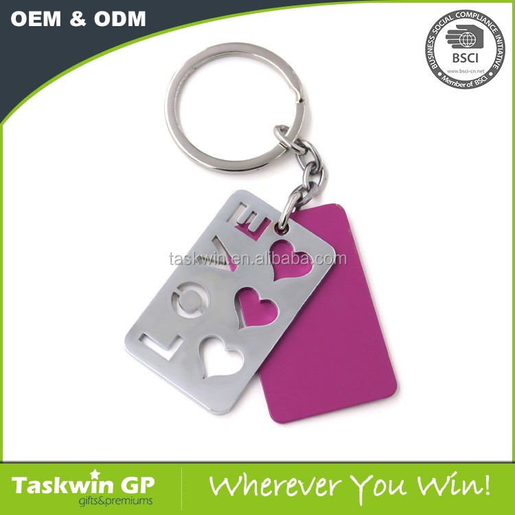 2D design stainless iron cut hole LOVE letters keychain for couple