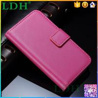 Lovely rouge cell phone housing for Iphone, rose genuine leather wallet phone case for I phone 5 5S