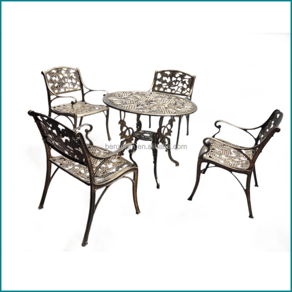 Durable metal furniture cast aluminium used patio furniture chairs and tables 2015 new design outdoor furniture