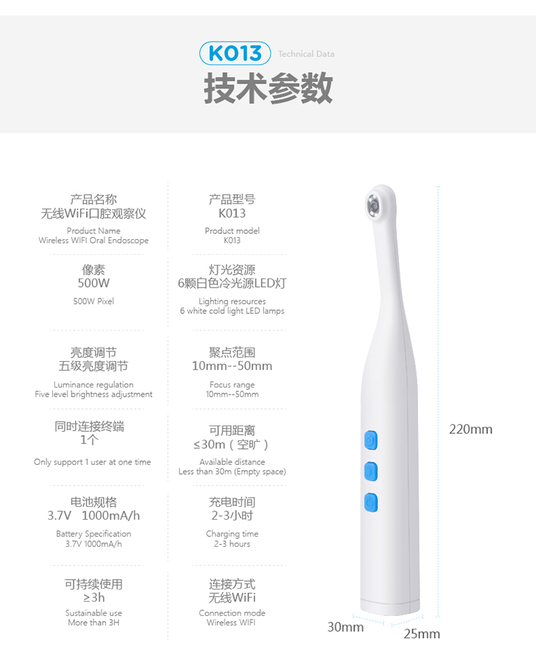 Wireless intraoral camera connect mobile phone,ipad view and save image with software CD light and easy mobility