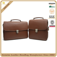 Business mens leather hand bag brown color custom trendy genuine leather briefcase
