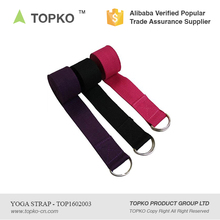 TOPKO 2016 Best Selling Products High Quality Private Label D ring Organic Cotton Yoga Strap