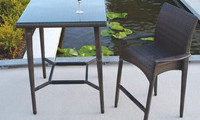 Classic low armrest designed rattan beach outdoor high table and stool wine bar furniture