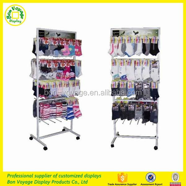 Point of Purchase Merchandising Stand Socks Display Case with Hooks