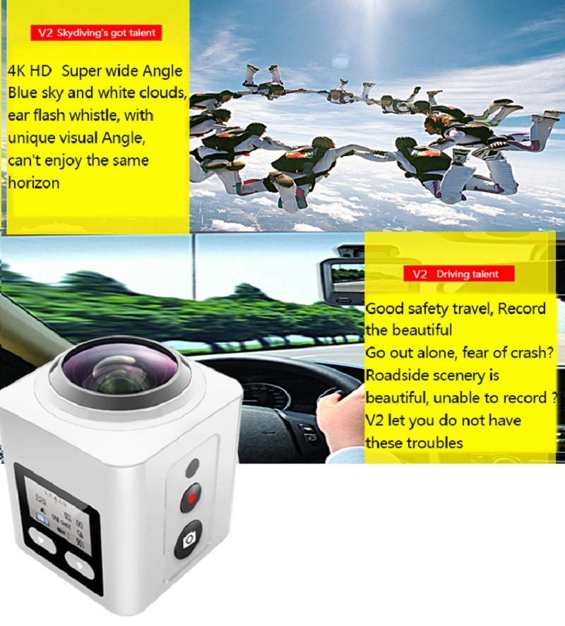 wifi 1080p 4k motion 360 degree panoramic sports action camera